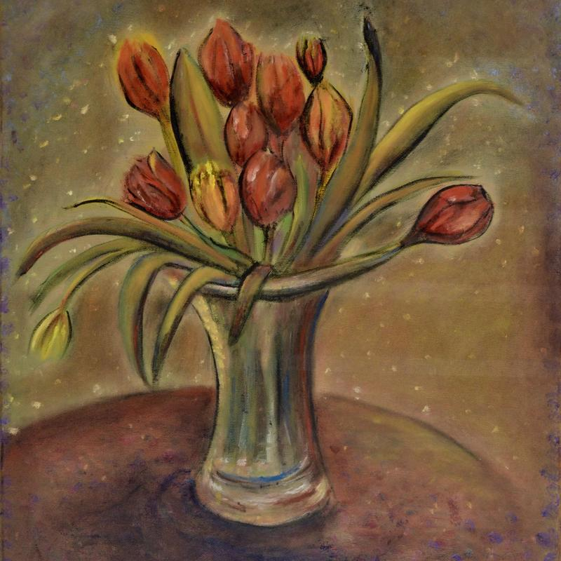 """Tulips Size 24' x 20"""" Oil on canvas"""