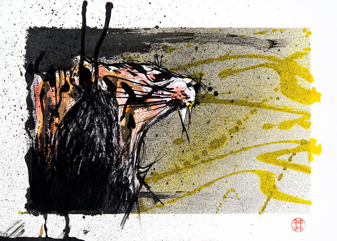 The original was drawn using black and coloured inks on A4 heavyweight sketch paper.