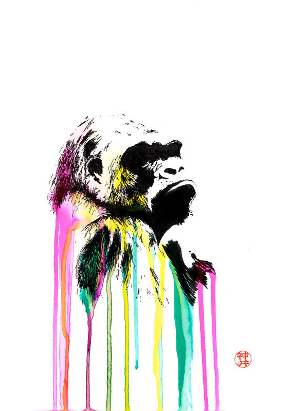 Gorilla Drippy - The original was drawn using black and coloured inks on A4 heavyweight sketch paper.