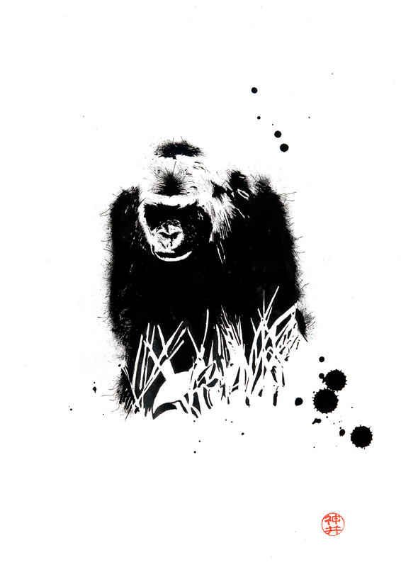 Gorilla in the Grass - The original was drawn using black ink on A4 heavyweight sketch paper.