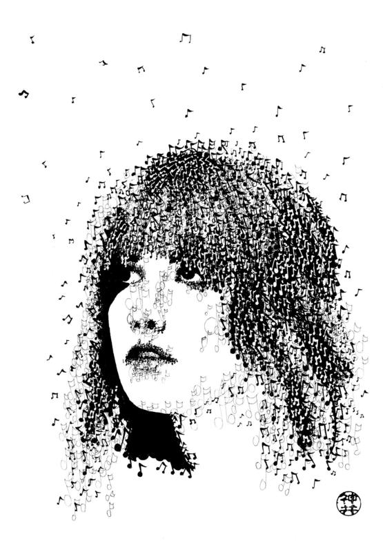Stevie Nicks - Drawn using dip pen and black Indian ink. Composed entirely of music notes.