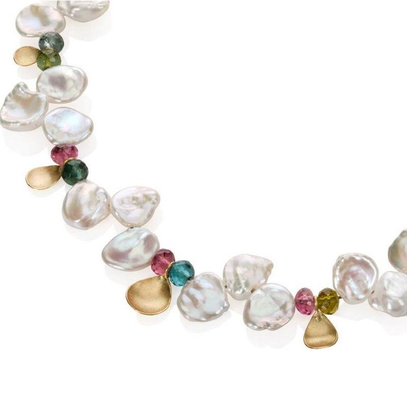 Freshwater pearl, tourmaline and 18ct gold necklace.