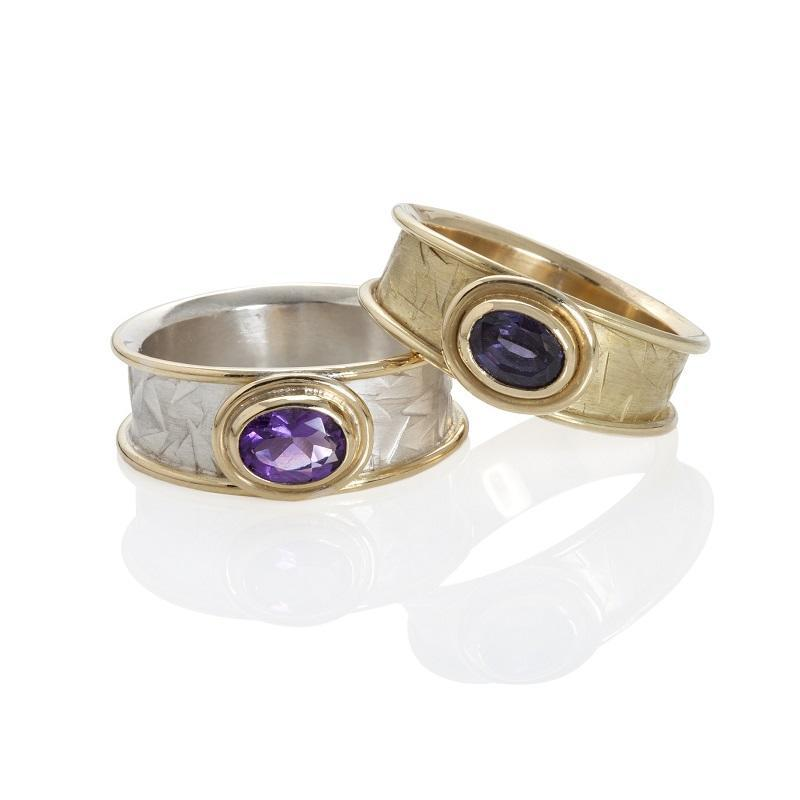 Silver & 18ct gold & 18ct gold gemset rings
