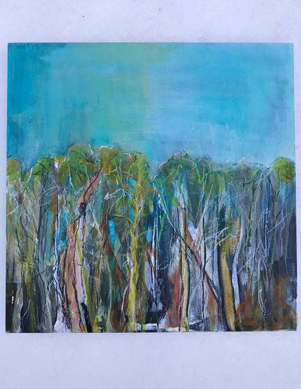 Shot over tree line. 25.5 square. Acrylic and pastel on cradle board. £100.