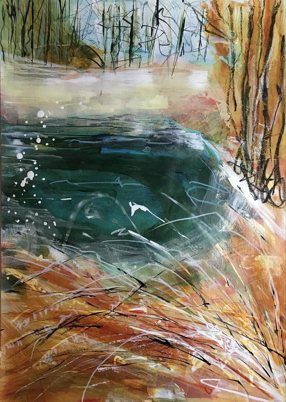 CSLewis nature reserve autumn colour. W42xH59cm. Acrylic and pastel on paper. £230 framed.