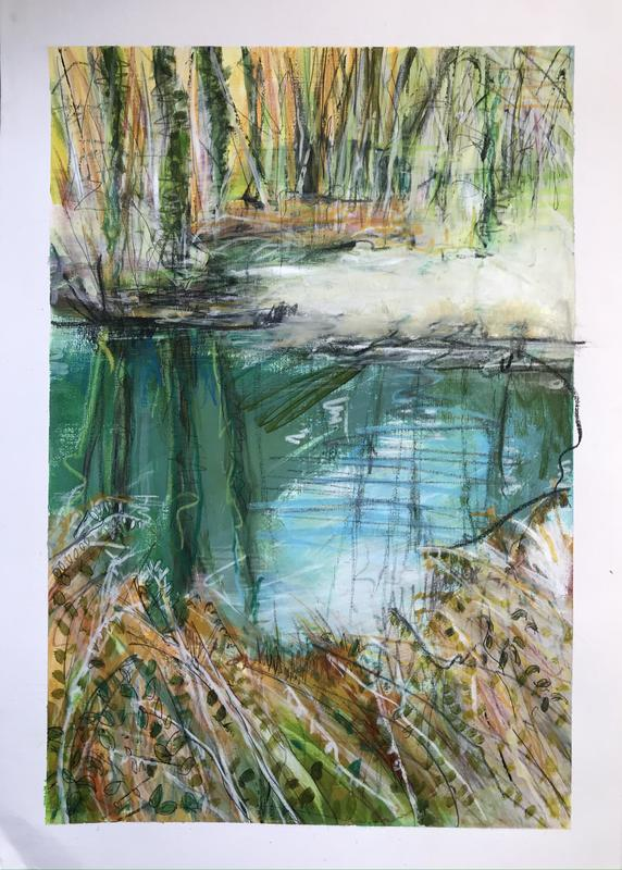 CSLewis nature reserve reflections in the water. W24.5xH37cm. Acrylic and pastel on paper. £150 framed.