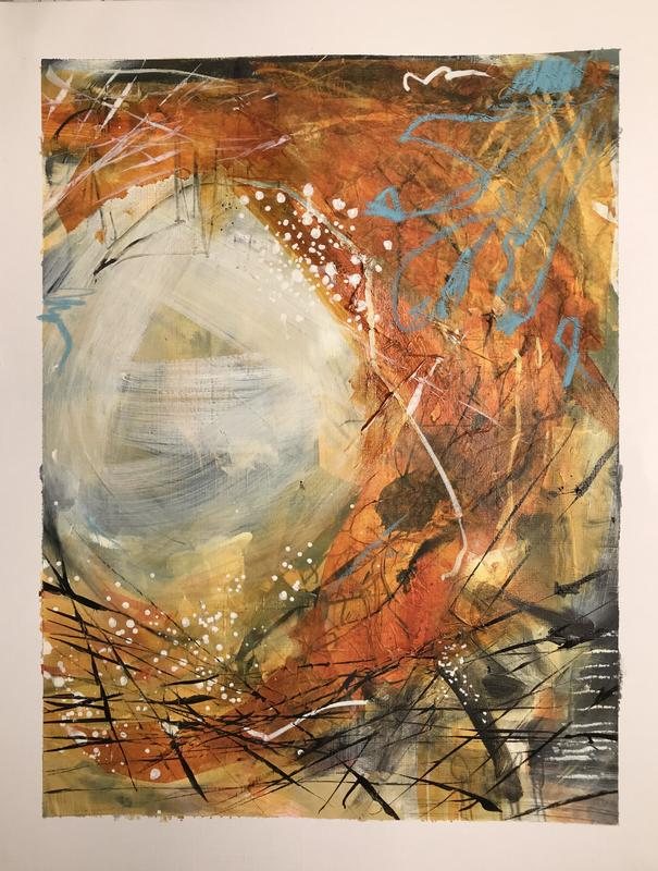 Abstract curve. W25xH30.5cm. Acrylic, collage, pastel and ink on paper. £150 framed.