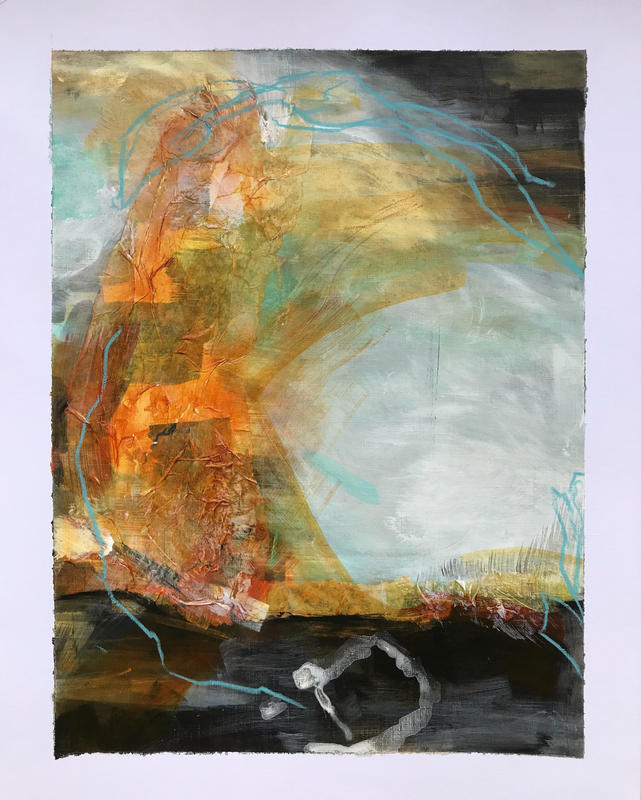 Abstract crescent. W23xH30.5cm. Acrylic, collage, pastel and ink on paper. £150 framed.