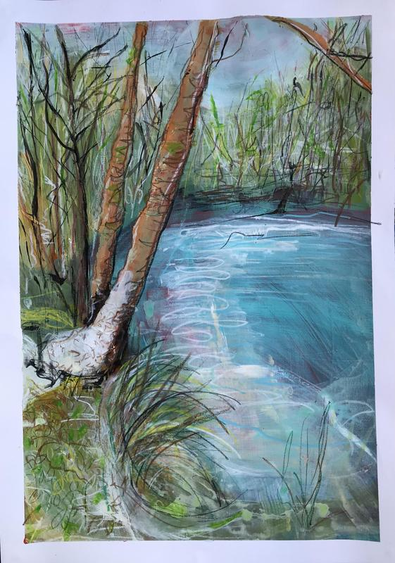 CSLewis nature reserve snow on the ground. W36.5xH54cm. Acrylic and pastel on paper. £230 framed.