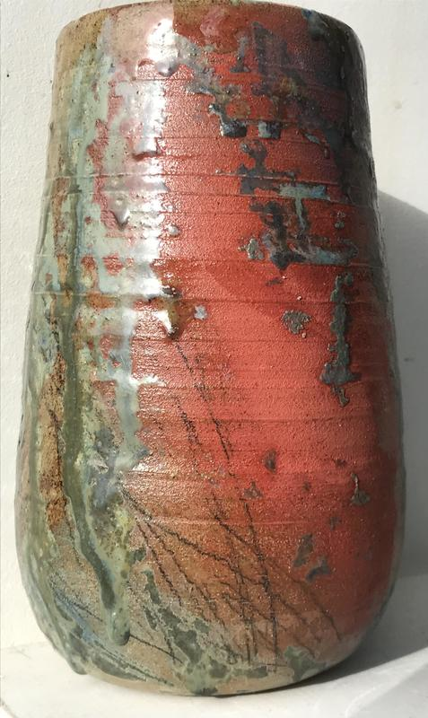 Vase, red, blues & greens, approx 21cm tall, 10cm diameter at top, £65