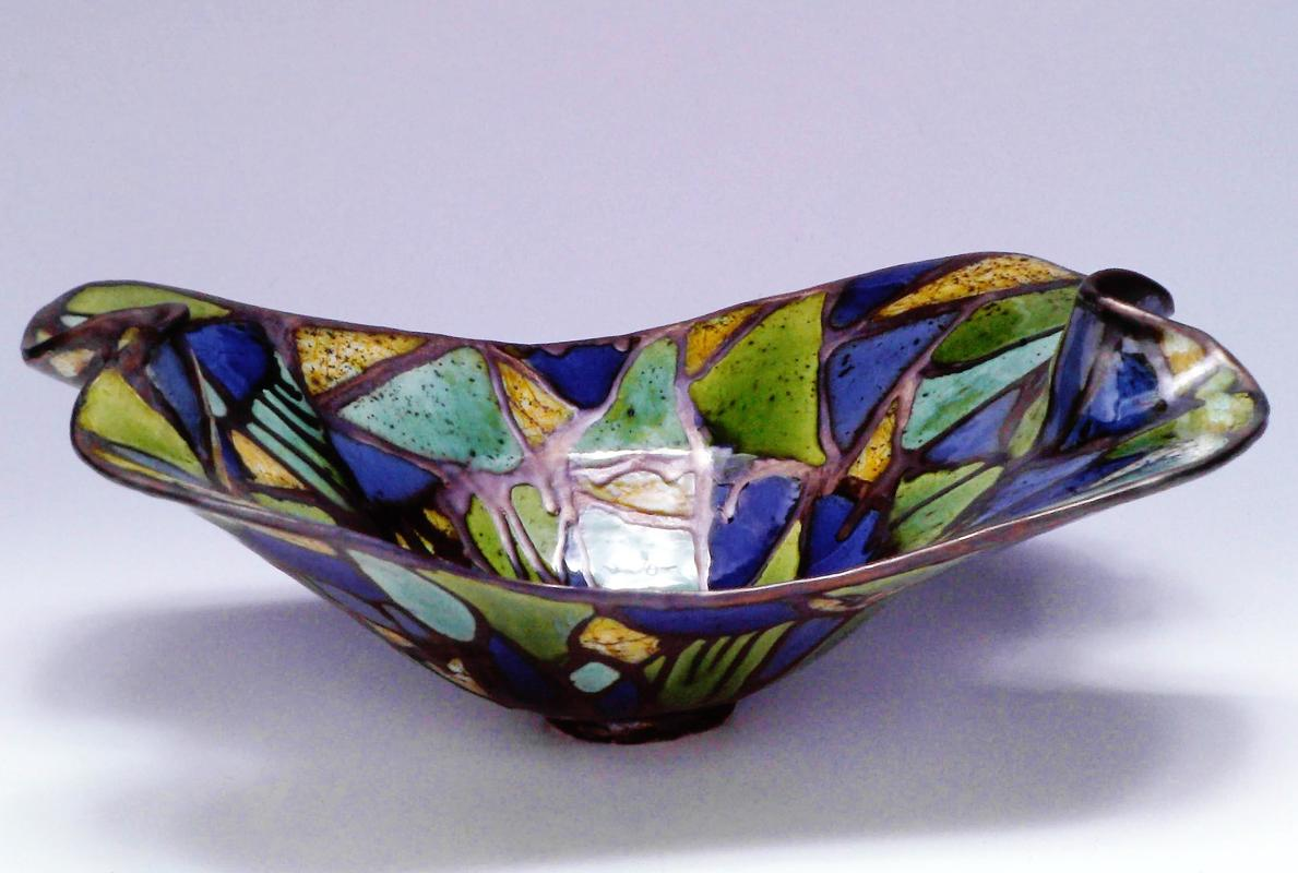 Cradle Dish, Stained Glass Motif