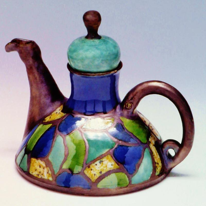 Tea Pot, Stained Glass Motif