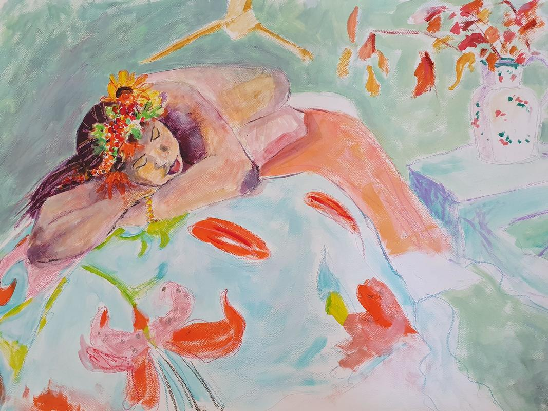 Reclining nude with headdress - Watercolour -