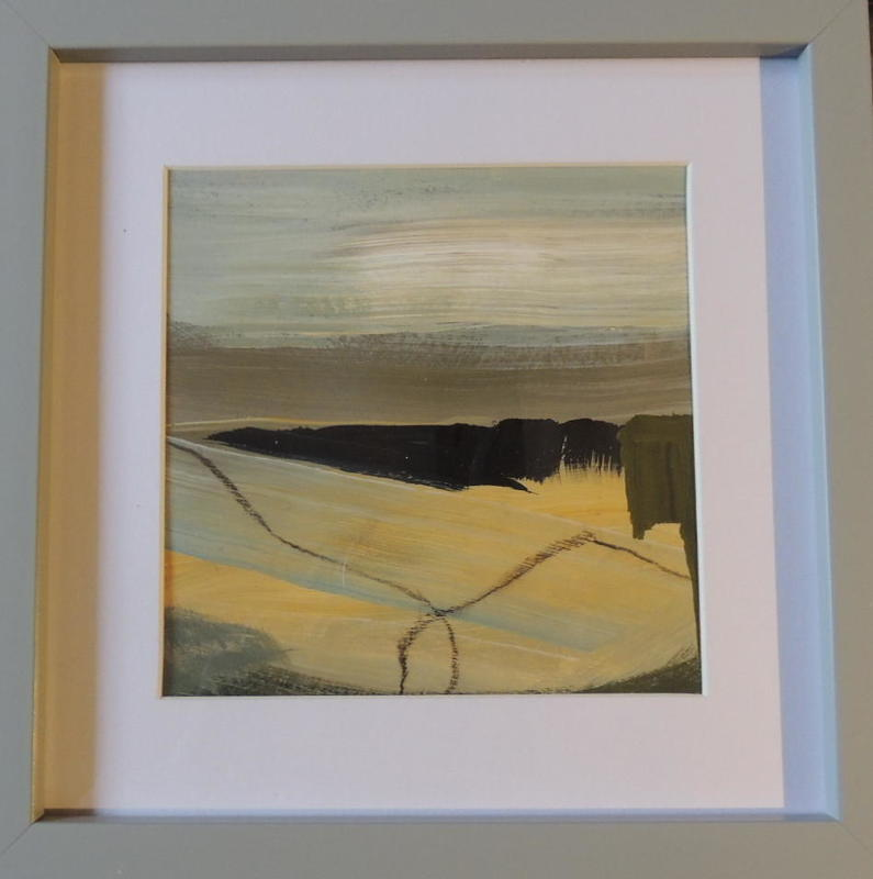 The Long View,  acrylic on paper, 12 x 12cm  £45 framed