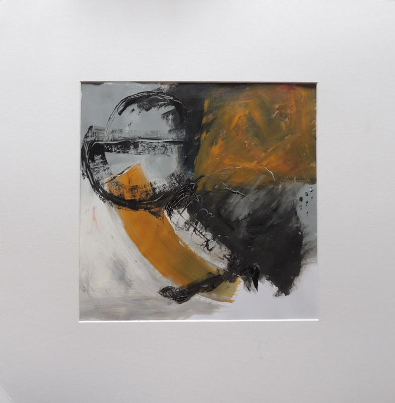 In Extremis, acrylic on paper, 30 x 30cms, framed in 50 x 50cms white box frame £75