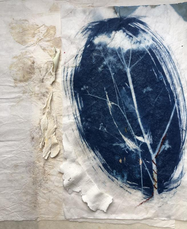 Decay. Cyanotype and ceramic, eco print. 45x55 cms