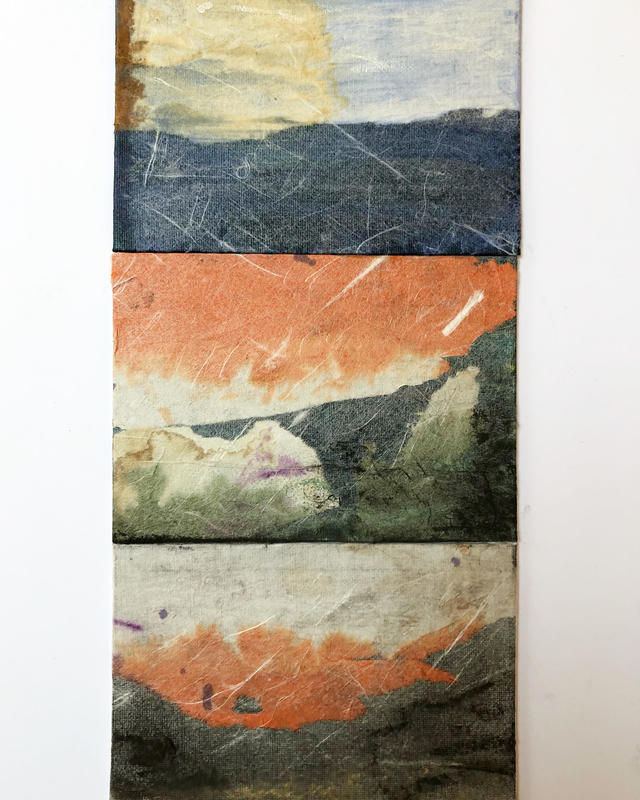 Changing skies - three postcard sized collage and ink studies