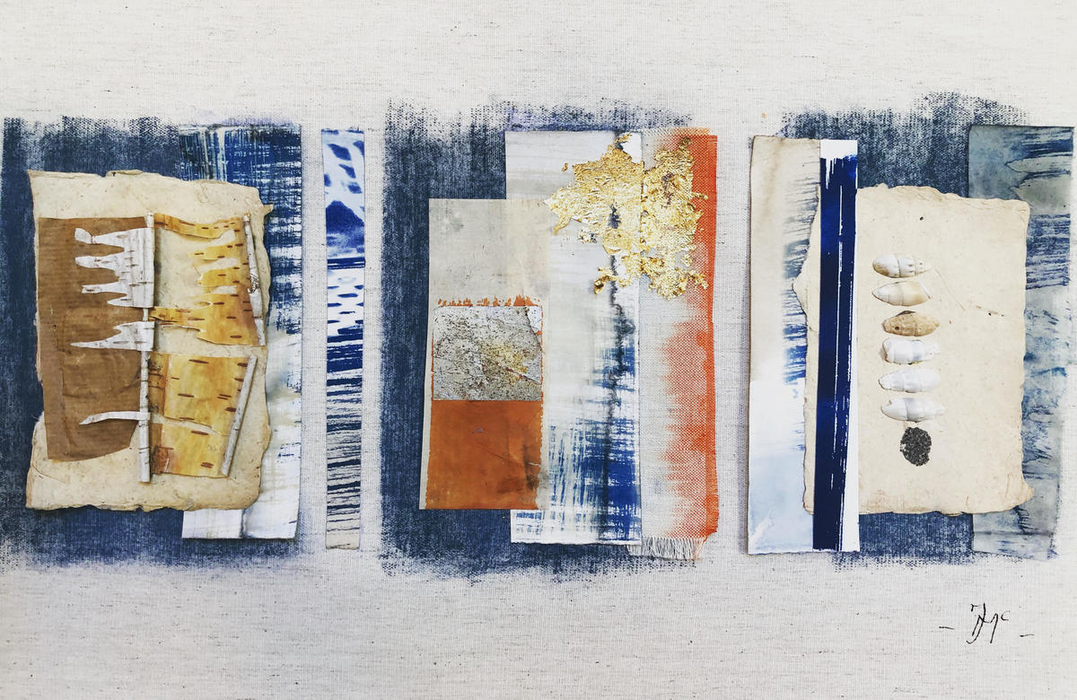 Treasures in threes. Pastel, cyanotype, collage, stitch. 60x40 cms