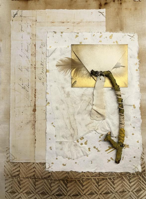 Woodland love letter.  Rusted and overprinted linen, stitched paper and bound twig. 45x60 cms