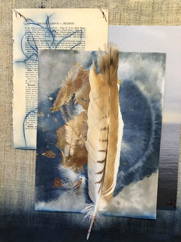 Dreaming. Cyanotype and gold leaf, dip dyed linen and stitch. 45x60 cms