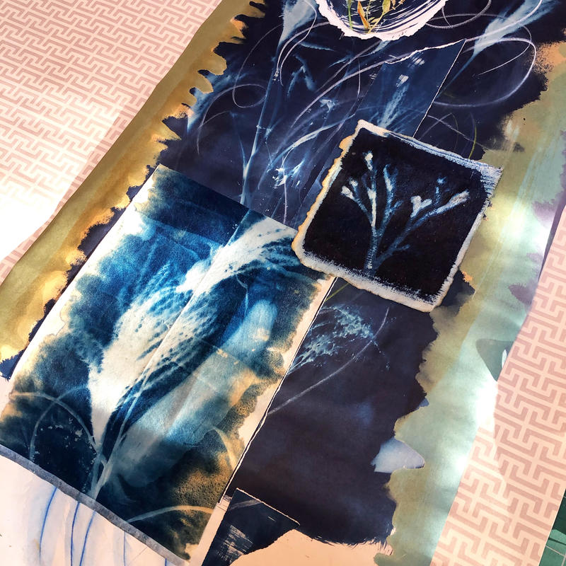 Sunlight on a cyanotype and watercolour hanging paper and fabric panel