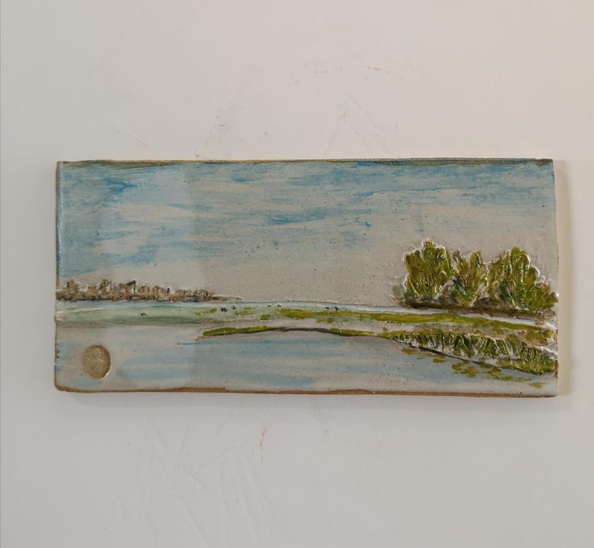 Port Meadow in Flood 2 stoneware relief