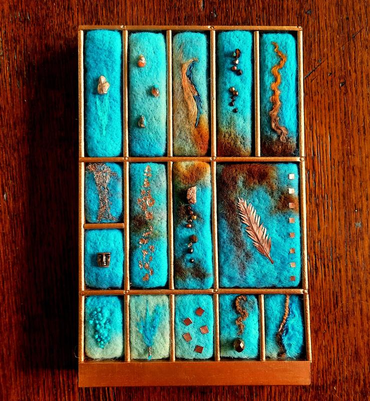 Turquoise with Copper - Hand felted blocks individually fitted into a vintage printer's type tray with different real copper and copper coloured embellishment  £140