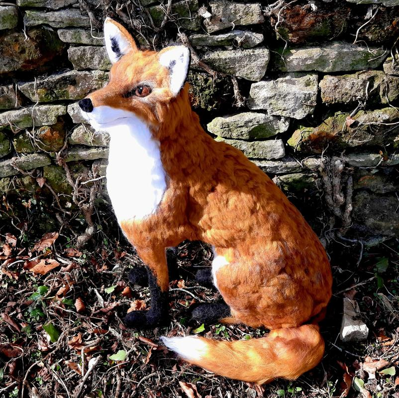 Needle Felted life size Fox Wool Sculpture. H 68cm. £295