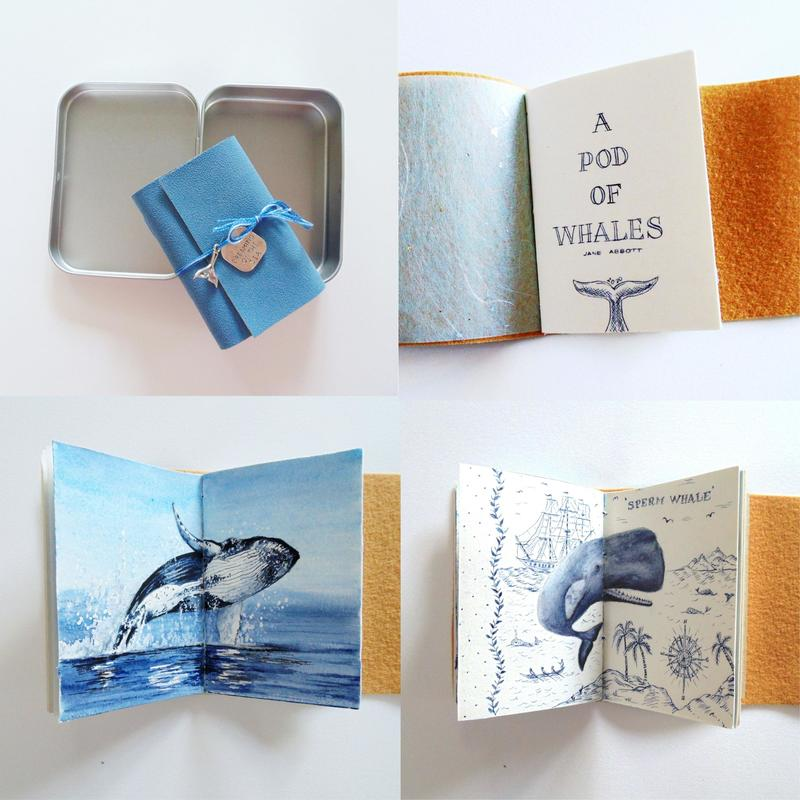 A POD OF WHALES - Handmade book with original watercolours of several whales and other content. Presented in a aluminium tin. £47