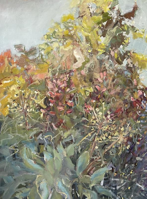A profusion of Summer flowers  Oil on paper. 76x56 cms .  £650