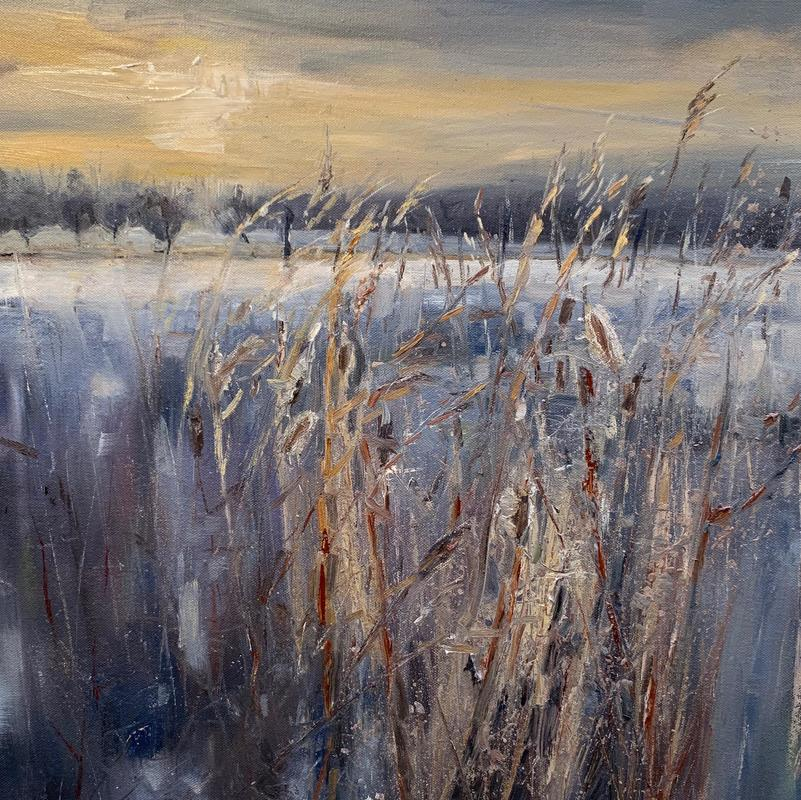 Thames wetlands in Winter  Acrylic on canvas  60x60 cms  £680