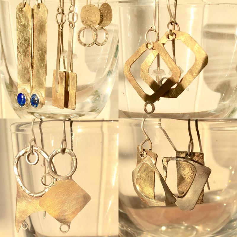 Sterling silver and brass earrings. £40 per pair.