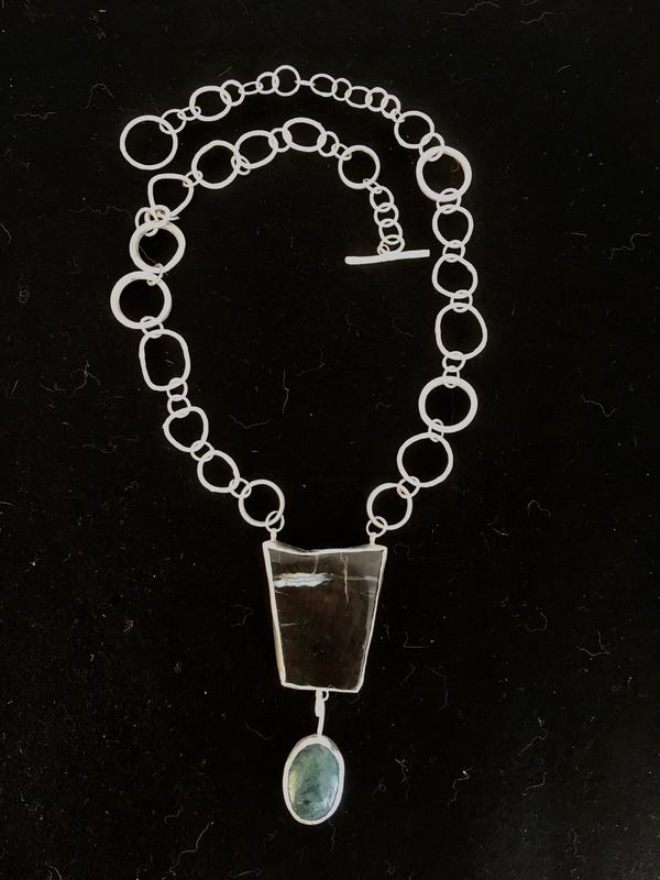 Fossilised wood pendant on handmade sterling silver chain. £165.
