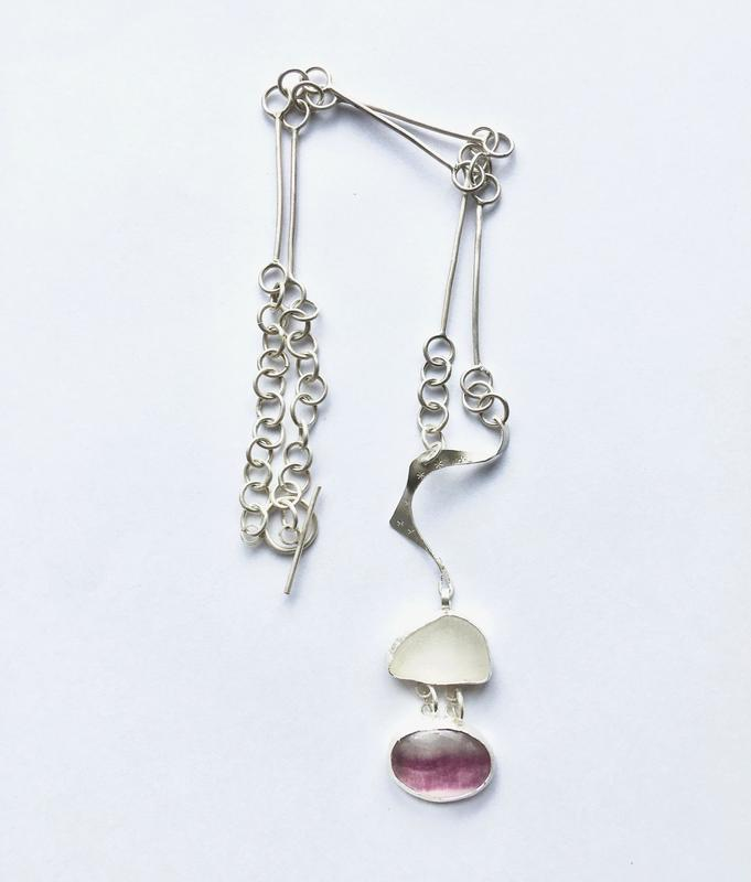 Sea-glass and fluorite pendant on handmade sterling silver chain. £135.