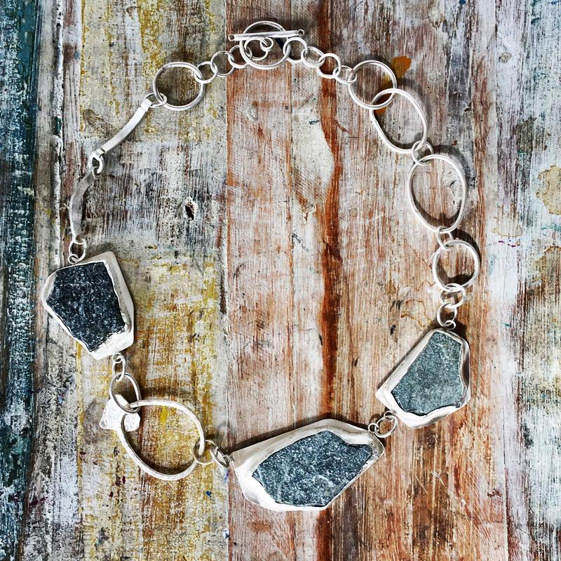 Sterling silver and beach pebble necklace. £160.