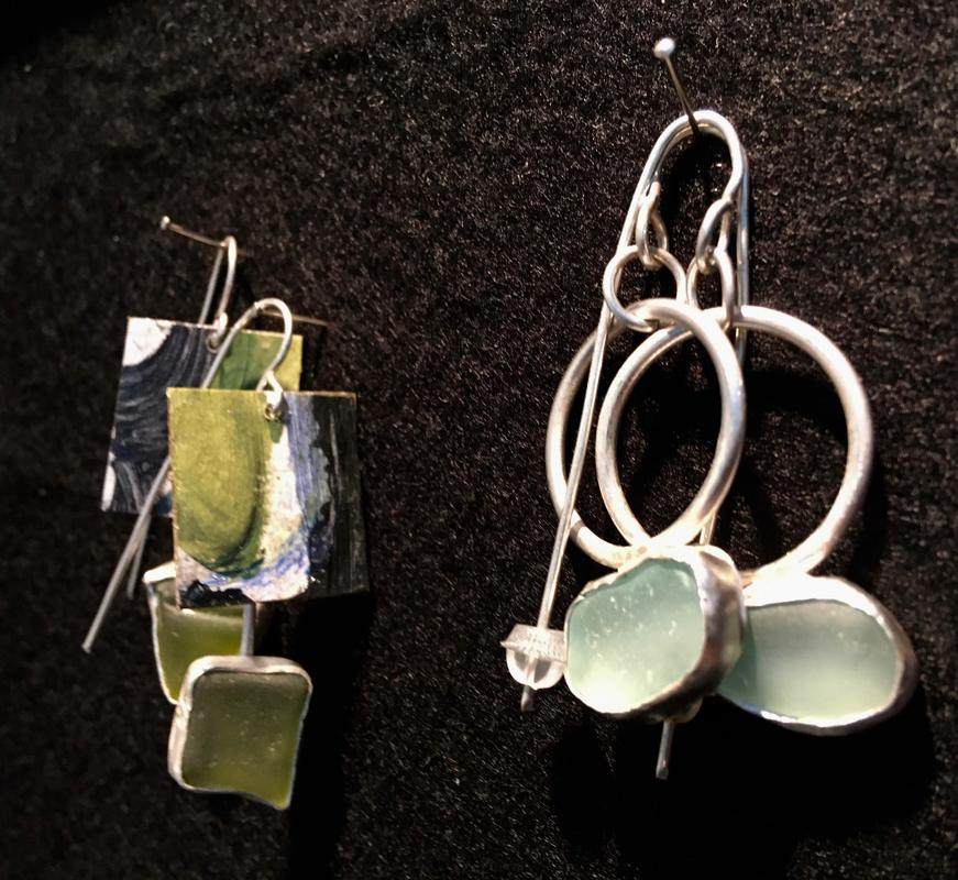 Earrings with sea-glass. £35 per pair.