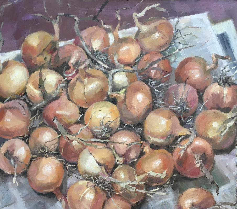 Onions ready for storing. Oil. 30x34 £375