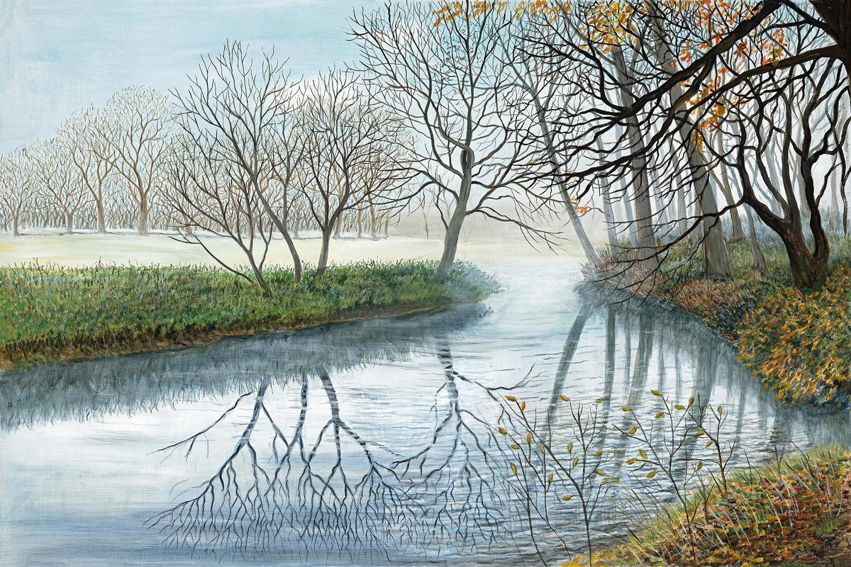 Mist on river, Waterperry, acrylic painting