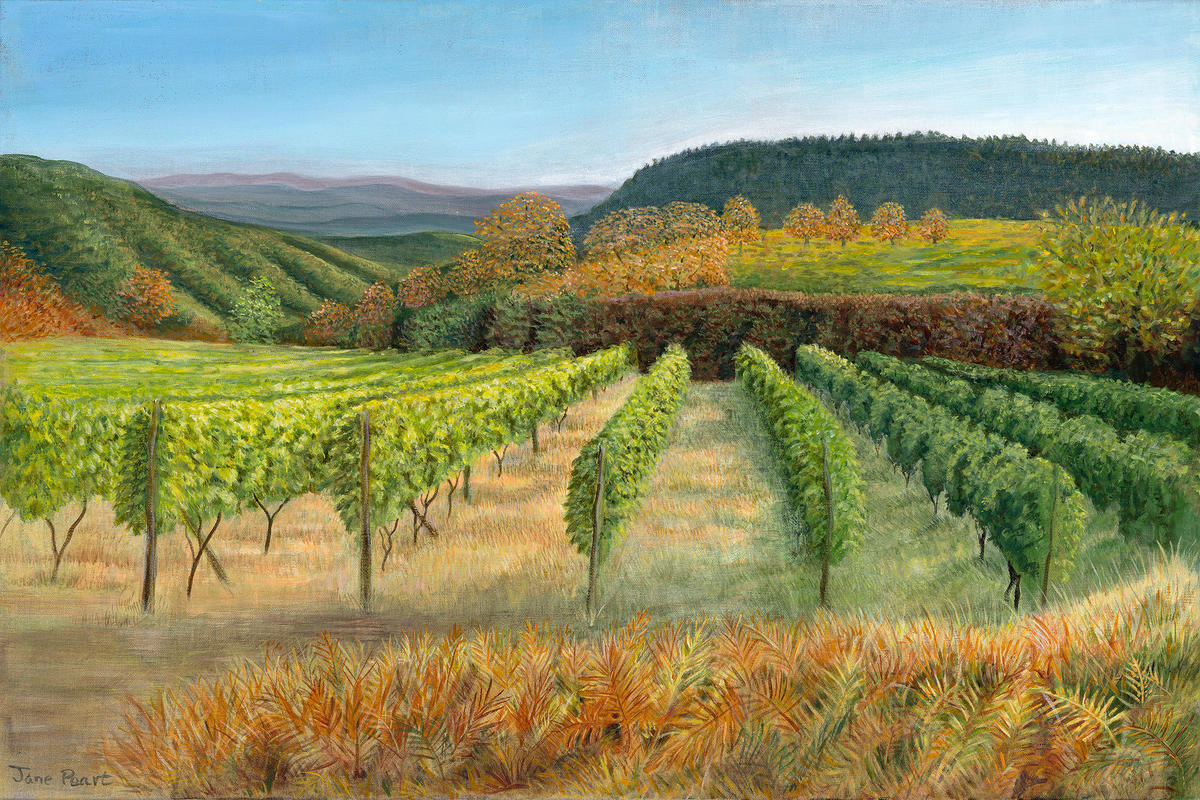 Evening light in Tuscany, acrylic painting
