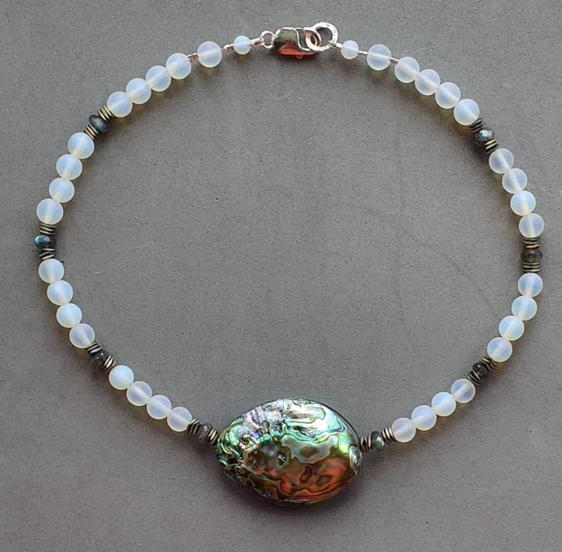 Frosted opalite, faceted labradorite & hematite necklace with abalone focal bead £65