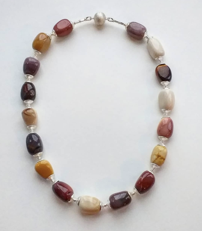 Mookaite & silver necklace with magnetic clasp £65