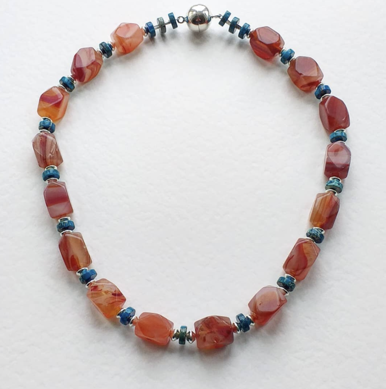 Agate, imperial jasper necklace with magnetic clasp £65