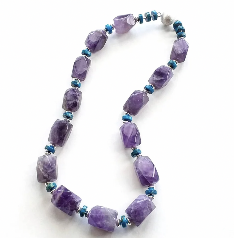 Chunky amethyst, imperial jasper necklace with magnetic clasp £65