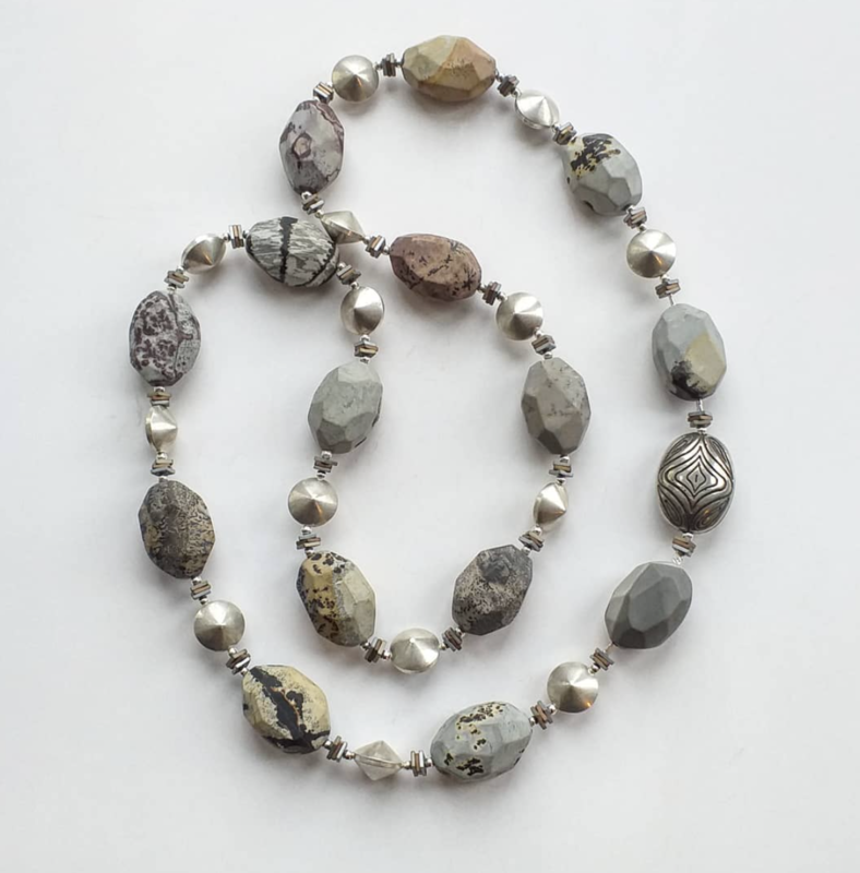 Chunky jasper beads with silver, hematite and Indian silver focal bead £70