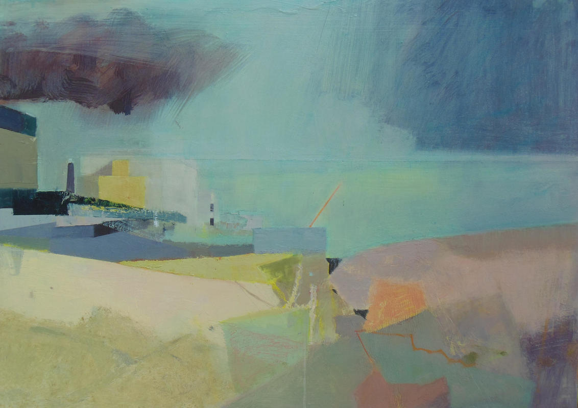 Dungeness Yellow and Black, oil on board 50cm x 70cm