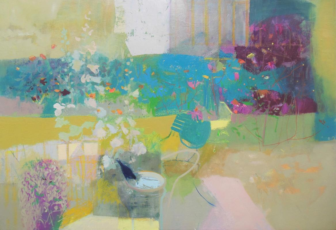 Lockdown Garden Series - June Garden Magenta and Blue oil on canvas