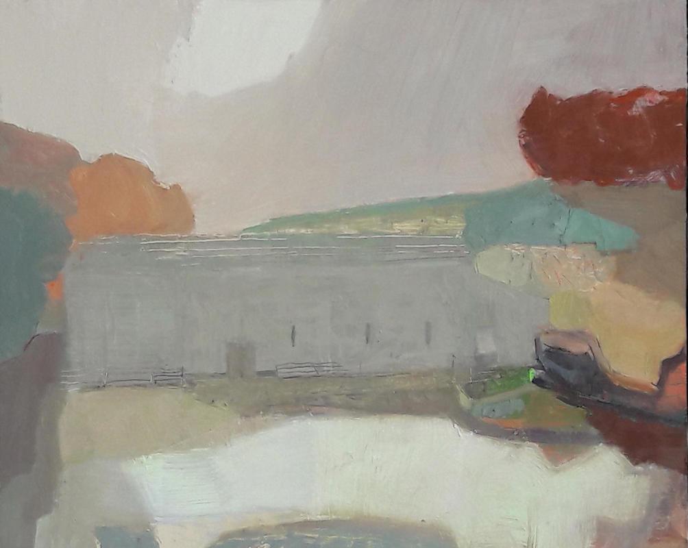 Long Barn, Froggatt, oil on board 24cm x 30cm