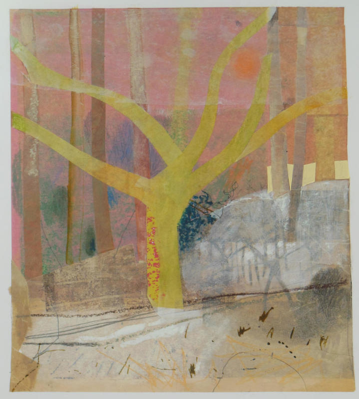 Snow Series, Beech, mixed media collage on paper, framed. Studio Sale