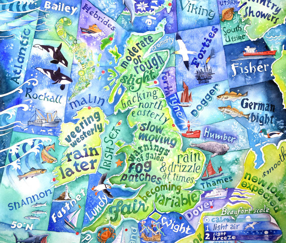Detail from Attention All Shipping, a painting of the shipping forecast - prints £45 & £36, also tea towels, coasters, cards