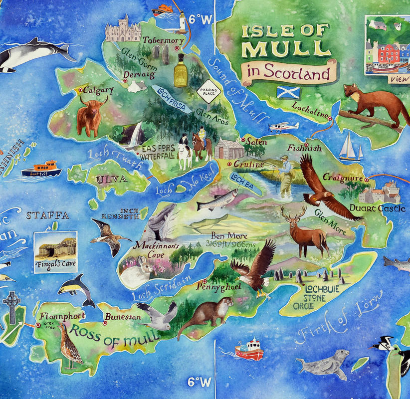 Map of Mull by Jane Tomlinson - watercolour - size 725mm x 495mm - original £1595, prints £36, also tea towels, coasters and cards